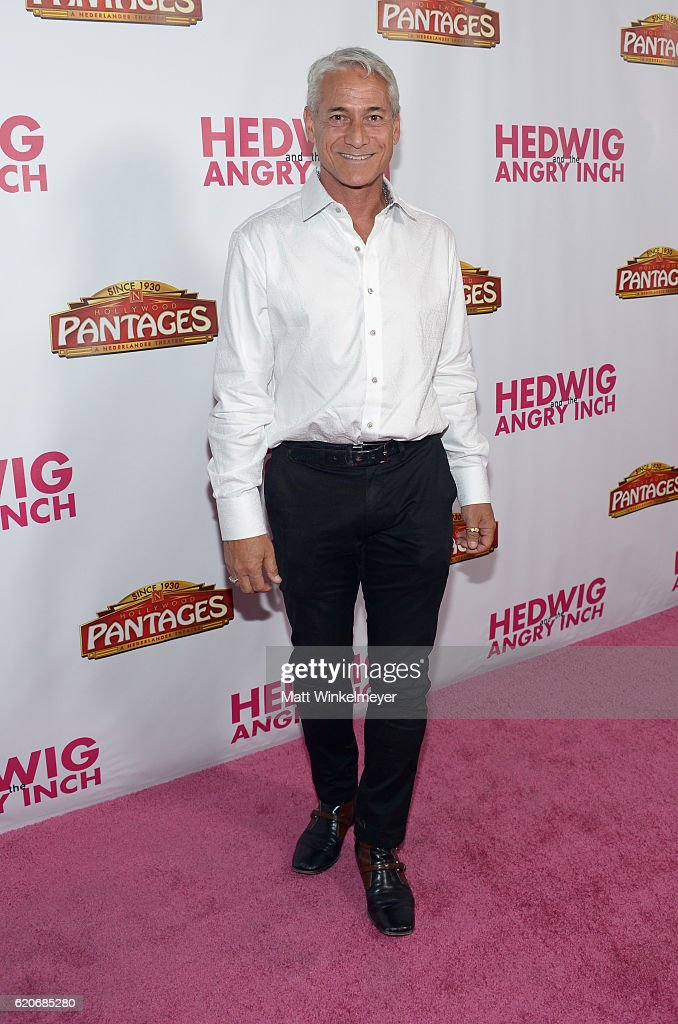 Former Olympic diver Greg Louganis attends the opening night of 'Hedwig And The Angry Inch' at the Pantages Theatre on November 2, 2016 in Hollywood, California.
