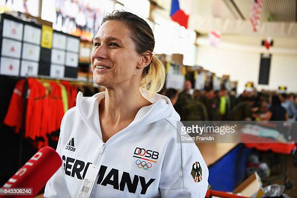 Former Olympic fencing gold medalist Britta Heidemann at the collection of the new official German Rio 2016 Olympic Team kit on July 7, 2016 in...