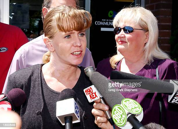 Former Olympic figure skater Tonya Harding speaks to reporters about her sentencing as she exits the Camus/Washougal Municipal Court on August 8 2002...
