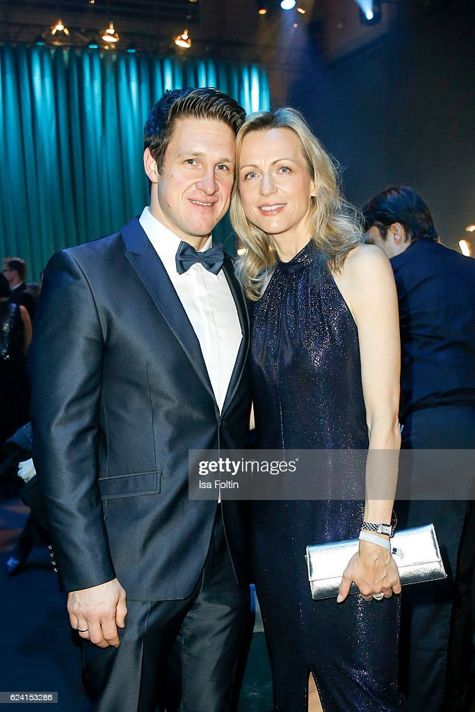 Former olympic gold medal winner in weight lifting Matthias Steiner and his wife Inge Steiner poses at the Bambi Awards 2016 party at Atrium Tower on November 17, 2016 in Berlin, Germany.