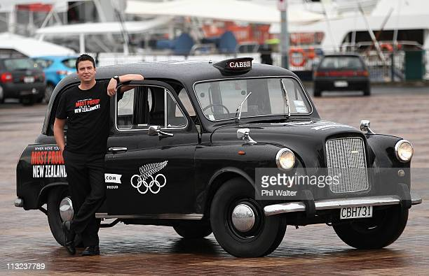 Former Olympic gold medalist Danyon Loader poses with a London Cab during the New Zealand Olympic Committee's London 2012 Campaign Launch at Viaduct...