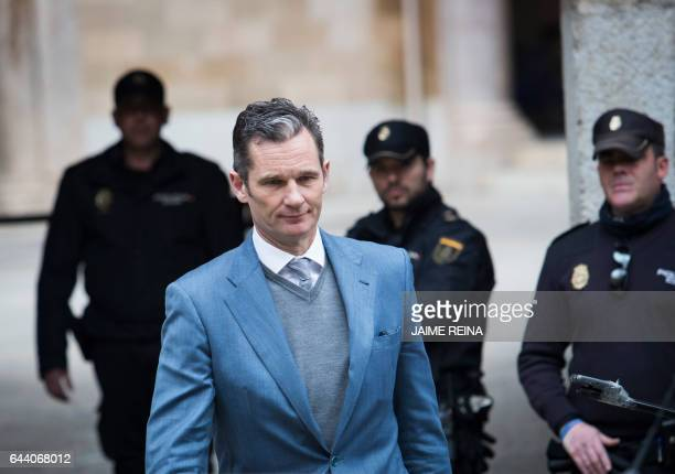 Former Olympic handball player and husband of Spain's Princess Cristina Inaki Urdangarin leaves the courthouse in Palma de Mallorca on the Spanish...