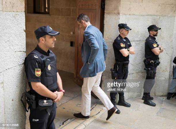 Former Olympic handball player and husband of Spain's Princess Cristina Inaki Urdangarin arrives to the courthouse on June 13 2018 in Palma de...
