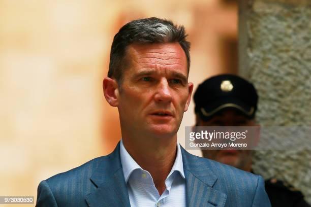Former Olympic handball player and husband of Spain's Princess Cristina Inaki Urdangarin leaves the courthouse on June 13 2018 in Palma de Mallorca...