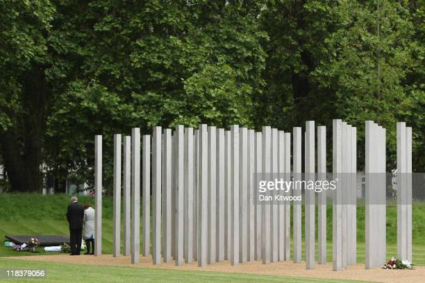 Former Olympic Minister Tessa Jowell and Former London Mayor Ken Livingstone pay their respects at the memorial to the victims of the July 7 2005...