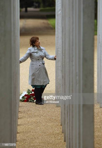 Former Olympic Minister Tessa Jowell pays her respects at the memorial to the victims of the July 7 2005 London bombings in Hyde Park on July 7 2011...