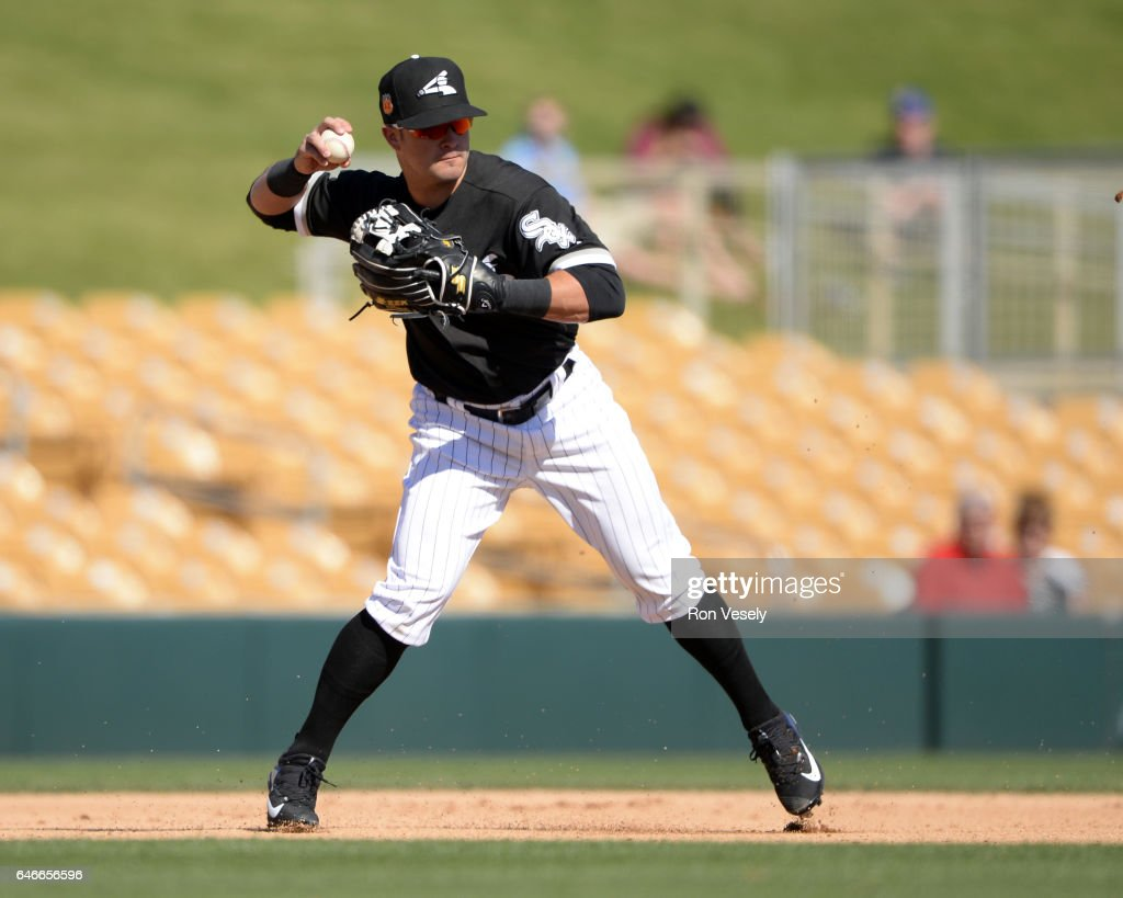 Former Olympic Silver Medalist Eddie Alvarez of the Chicago White Sox fields against the Seattle Mariners on February 26, 2017 at Camelback Ranch in Glendale Arizona.