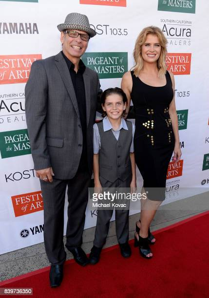 Former Olympic Skater Lloyd Eisler, Magnus Eisler, and actor Kristy Swanson attend the Festival of Arts Celebrity Benefit Event on August 26, 2017 in...