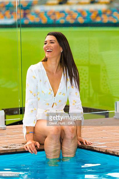 Former Olympic swimmer and Pool Deck ambassador Stephanie Rice poses for photos at the Pool Deck at the Gabba ground during the Commonwealth Bank...