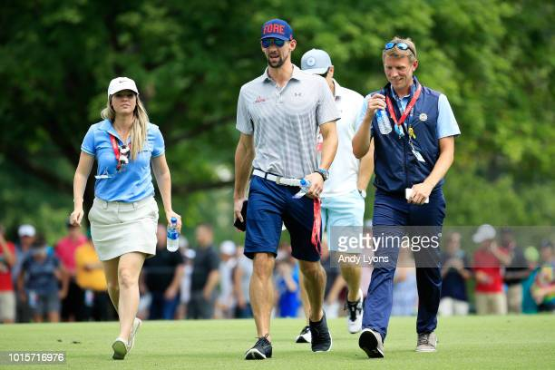 Former Olympic swimmer Michael Phelps attends the final round of the 2018 PGA Championship at Bellerive Country Club on August 12 2018 in St Louis...
