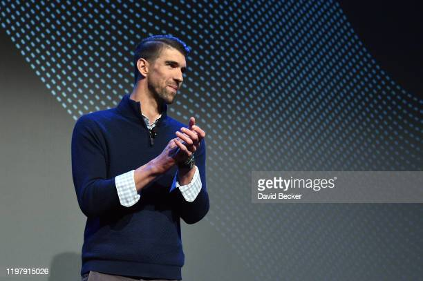 Former Olympic swimmer Michael Phelps speaks during a Panasonic press event for CES 2020 at the Mandalay Bay Convention Center on January 6, 2020 in...