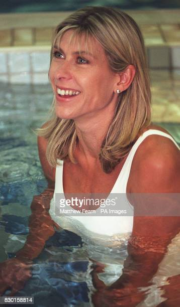 Former Olympic swimmer Sharron Davies enjoys a jacuzzi at the Marriot Hotel in London's Marble Arch at the launch of her Mile Swim Challenge in aid...