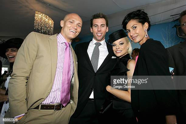 Former olympic swimmers Michael Klim Grant Hackett Candace Alley and Lindy Klim is seen in the Emirates Marquee during Emirates Melbourne Cup...