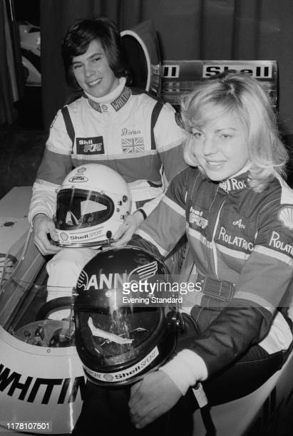 Former Olympics sportswomen show jumper Ann Moore and skier Divina Galica first British women to drive a Formula One Grand Prix Car attend a press...