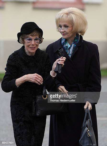 Former opera singer Anneliese Rothenberger and actress Liselotte Pulver are seen prior a funeral service for countess Sonja Bernadotte at Mainau...