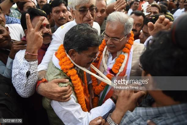 Former opposition leader of Chattisgarh Assembly TS Deo Singh Chhattisgarh Pradesh Congress President Bhupesh Baghel and Charandas Mahant at...