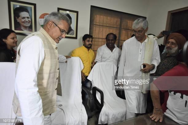 Former opposition leader of Chhattisgarh Assembly TS Deo Singh and Chhattisgarh Pradesh Congress President Bhupesh Baghel at Chhattisgarh Pradesh...