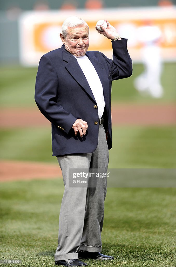 Former Orioles manager Earl Weaver throws out the ceremonial first pitch before the opening day game between the Baltimore Orioles and the Detroit Tigers at Camden Yards on April 4, 2011 in Baltimore, Maryland.