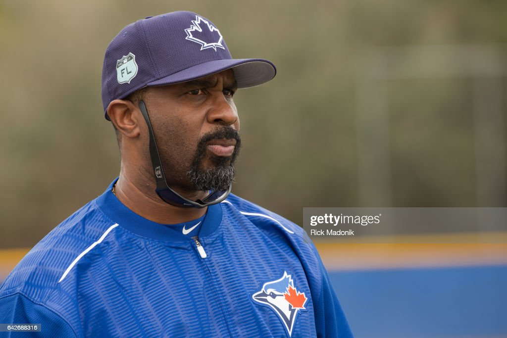 Former outfielder Devon White is now the hitting coach in Buffalo. Toronto Blue Jays welcome the entire squad today as position players join the pitchers and catchers in Dunedin. Today was the first full workout as they team prepares for the upcoming Grapefruit season at Bobby Mattick Training Centre. Toronto Star/Rick Madonik