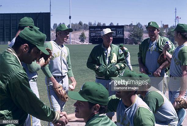 Former outfielder Joe DiMaggio who played with the New York Yankees is a coach with the Oakland A's during Spring Training in March 1969 in Mesa...