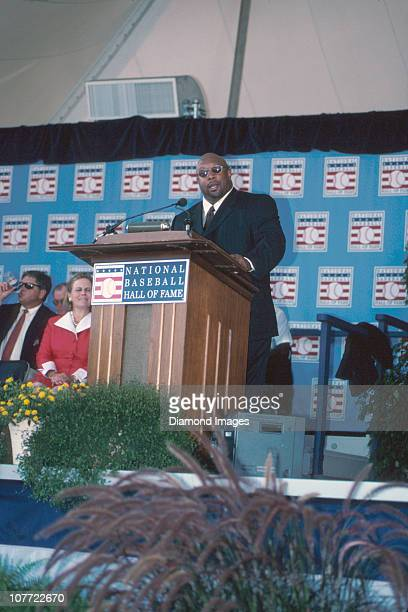 Former outfielder Kirby Puckett of the Minnesota Twins delivers his acceptane speech during the National Baseball Hall of Fame Induction Ceremonies...
