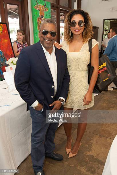 Former Owner of BET Bob Johnson and his Wife Lauren at International Polo Club Palm Beach on January 16 2017 in Wellington Florida