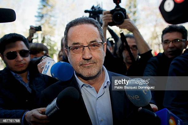 Former owner of Real Zaragoza Javier Agapito arrives at court at the City of Justice as he is investigated with another 41 people in a match-fixing...