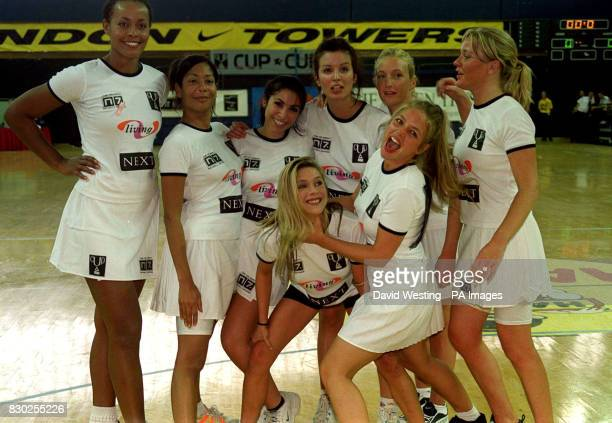Former page 3 model Samantha Fox captains her team, the Foxy Ladies, who include Gladiator Jane Omorogbe , at the 1999 Celebrity Netball Sevens...