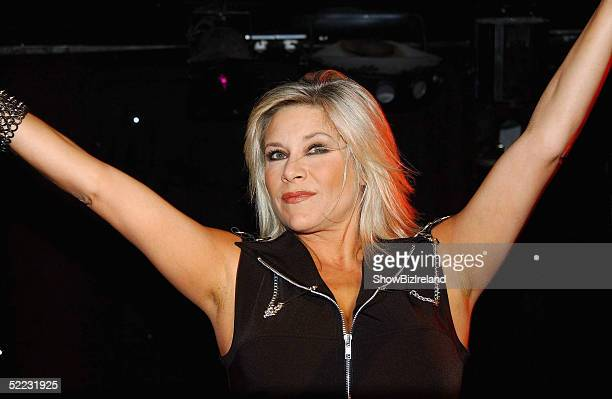 Former Page 3 model Samantha Fox performs at 'Glitz' gay disco at Break for the Border February 22 2004 in Dublin Ireland