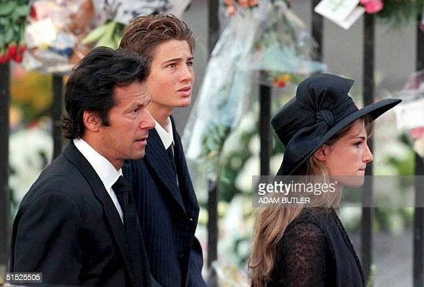 Former Pakistan cricket capain Imran Khan and his wife Jemima Khan arrive at London's Westminster Abbey 06 September for the funeral of Diana...