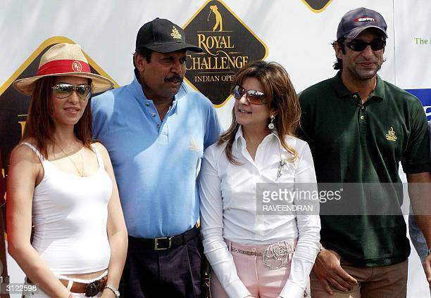 Former Pakistan Cricket captain Wasim Akram Manager of the Shaw Wallace group Komal Wazir former Indian cricket captain Kapil Dev and Indian model...