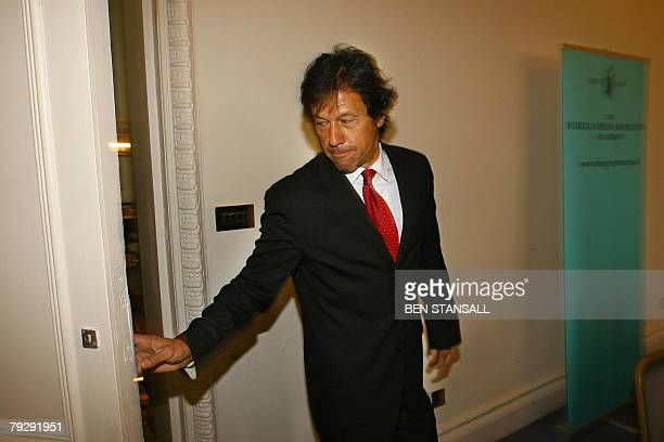 Former Pakistan cricketer and opposition leader Imran Khan arrives for a press conference at the Foreign Press Association in London, 28 January...