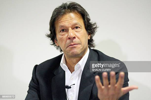 Former Pakistan cricketer and opposition politician Imran Khan talks to the media during a press conference in central London on July 13 2009 Among...