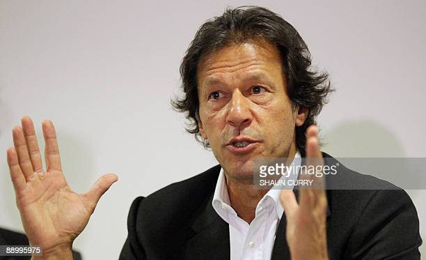 Former Pakistan cricketer and opposition politician Imran Khan talks to the media during a press conference in central London, on July 13, 2009....