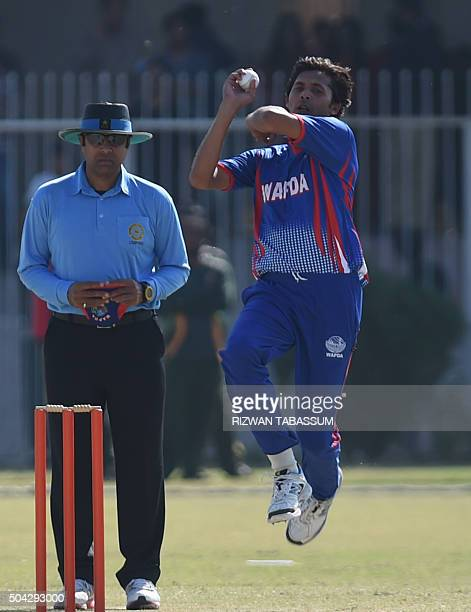Former Pakistan cricketer Mohammad Asif delivers a ball during a domestic oneday match in Hyderabad on January 10 2016 Butt and Mohammad Asif...