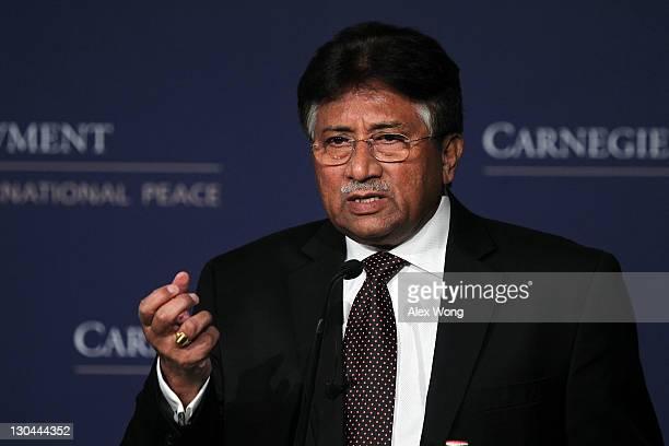 Former Pakistan President Pervez Musharraf speaks at The Carnegie Endowment for International Peace October 26 2011 in Washington DC Musharraf...