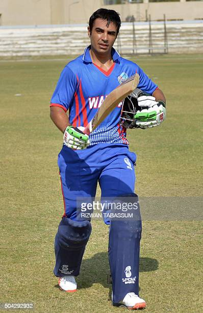 Former Pakistan Test captain Salman Butt leaves the field during a domestic oneday match in Hyderabad on January 10 2016 Butt and Mohammad Asif...