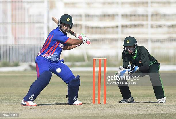Former Pakistan Test captain Salman Butt plays a shot during a domestic oneday match in Hyderabad on January 10 2016 Butt and Mohammad Asif returned...