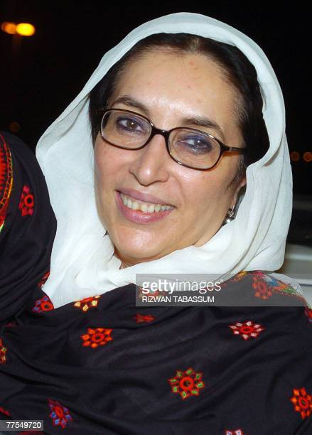 Former Pakistani premier Benazir Bhutto smiles following her arrival at Jinnah international airport in Karachi 29 October 2007 Bhutto 29 October...