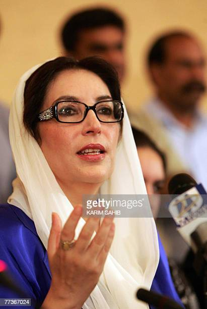 Former Pakistani premier Benazir Bhutto speaks at a press conference in Dubai 17 October 2007 Bhutto confirmed today that she will return home...