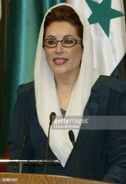 Former Pakistani premier Benazir Bhutto speaks at the opening session of the Women Business International Fourm in Damascus 21 May 2005 The gathering...