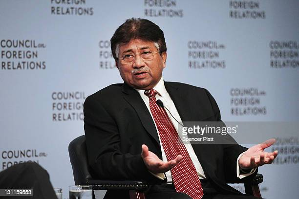 Former Pakistani president General Pervez Musharraf speaks at the Council on Foreign Relations on November 2, 2011 in New York City. General...