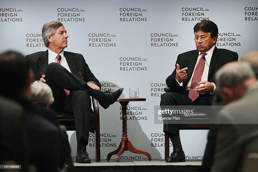 Former Pakistani president General Pervez Musharraf (right) speaks with Dr. James J. Shinn of Princeton University at the Council on Foreign Relations on November 2, 2011 in New York City. General Musharraf, having launched his own political party the All Pakistan Muslim League (APML), is planning to return to Pakistan this spring and contest the country's 2013 elections.