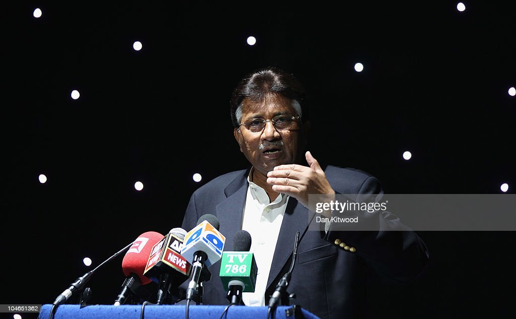 Former Pakistani President, Pervez Musharraf addresses members of the UK Pakistani Community on October 2, 2010 in Birmingham, England. Musharraf has recently announced his return to front line politics, with the launch of a new political party, the 'All Pakistan Muslim League'.