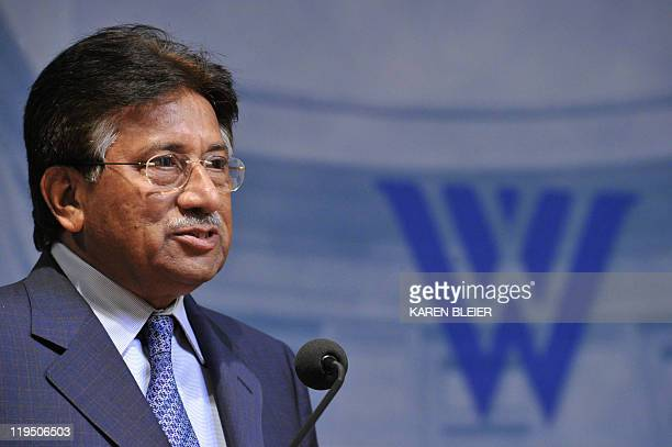 Former Pakistani President Pervez Musharraf delivers an address titled 'The State of the US-Pakistani Relationship' on July 21, 2011 at the Woodrow...