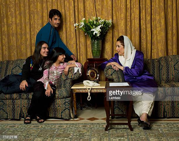 Former Pakistani Prime Minister and Opposition Leader Benazir Bhutto with her daughters Bakhtawar left and Asifa and her son Bilawal at her home in...