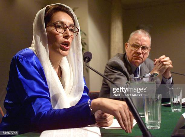Former Pakistani Prime Minister Benazir Bhutto addresses the Woodrow Wilson International Center of Scholars in the Ronald Reagan Building in...