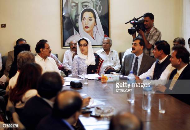 Former Pakistani Prime Minister Benazir Bhutto attends the Pakistan People's Party Central Executive Committee at the Bilawal House in Karachi 31...