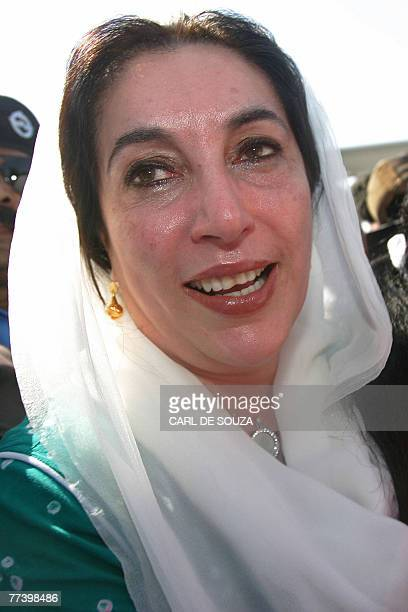 Former Pakistani Prime Minister Benazir Bhutto cries as she lands at Karachi international airport after leaving Dubai 18 October 2007 Bhutto is...