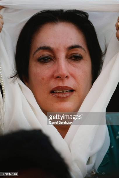 Former Pakistani Prime Minister Benazir Bhutto is overcome with emotion on arrival back to her homeland on October 18 2007 in Karachi Pakistan Bhutto...